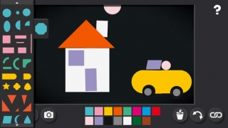 Free play with shapes, colors, and more to create a story.