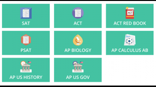 """The test prep section includes """"courses"""" with lessons, testing tips, practice tests, and flash cards."""