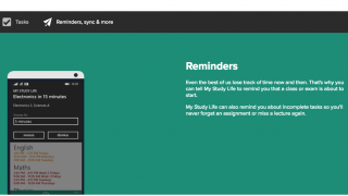 Reminders can be set to inform you of a class about to start or an assignment due date.