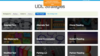 UDL strategies can be searched for by topic or skill, and then further by related topics.