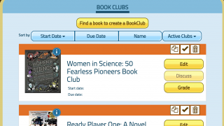 In the Book Clubs tab, view all clubs created and access discussion, grading, editing, and copying features.