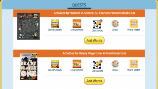 Quests offer a variety of simple, word-based games that'll require teachers to upload words and definitions first.