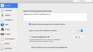 Easily access VoiceOver in the system settings of your Mac under Accessibility.