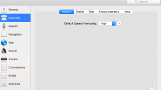 The speech verbosity selection lets you set levels of speech.
