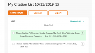 The citation generator creates a bibliography list for various types of resources.