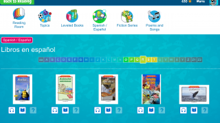 Browse book collections in both Spanish and French.