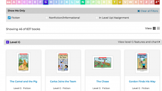 Students have access to texts on a variety of topics.