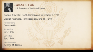 Users can explore presidents' bios one by one, learning about key milestones in their lives.