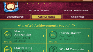 Achievements page has a long list of possibilities.