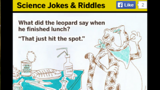 The site showcases some fun science jokes and riddles.