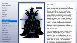Character descriptions and analyses are available, as is a map linking the relationships of each character.
