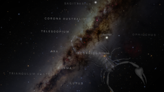The app displays the night sky with overlays of names, constellations, mythology, and more.