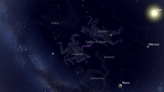 Scroll the sky to view astronomical objects.