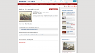 Clicking through to resources gives national standards, related resources and artifacts, and more.