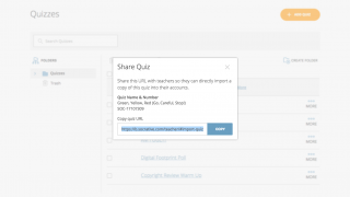 Easily share quizzes with others via a link so they can copy and edit them.