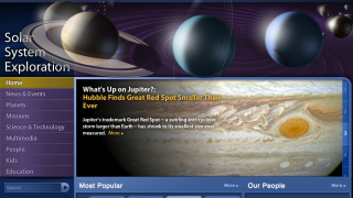 Access a world of astronomy info and NASA news from the site's homepage.