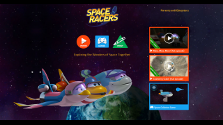 The site uses cartoons to teach kids about space.