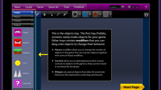 Physics Creator (AKA Physics Puzzle Maker) includes pop-up guides to its user interface, a feature lacking in the other tools.
