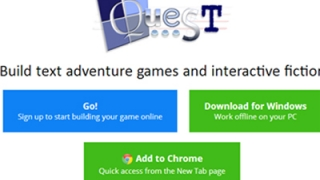 Play interactive, text-based adventure games or create your own.
