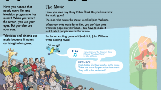 Kids learn that classical music is found in television and cinemas, at dances and wedding, and in concert halls and theaters.