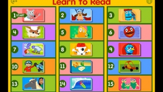 Main menu shows 15 activity topics each with two or three lessons or activities.
