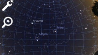 Options abound for labeling and viewing – grid lines, constellations, planets, and more.