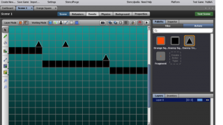 Geographically arranging graphic resources in the Scene tab.