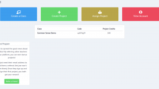 The teacher dashboard allows for creating and assigning projects.