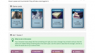 Students start with cards (both drawn and preset by teachers) that help define the boundaries of the story to be told.