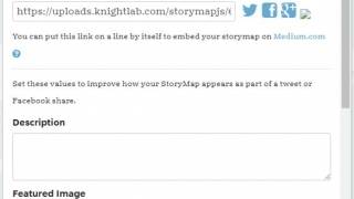 Share your finished StoryMap through social media or by embedding on a website.