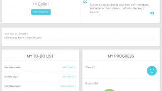 The student dashboard provides a quick look at progress and next steps.