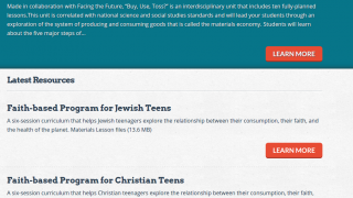 The site includes a complete 10-lesson curriculum for high school.