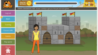 The student dashboard shows students if they have assignments from the teacher, and lets them select games.