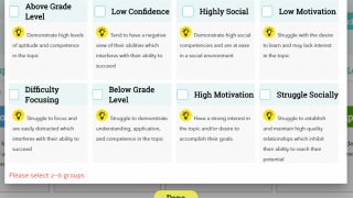 Teachers can select categories to best suit their class.