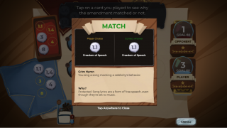 When players correctly match an amendment with a situation, they are able to see why that amendment applies.