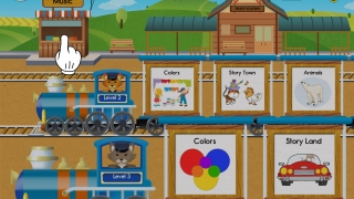 Choose a level and a topic to see available books, or check out the music station.