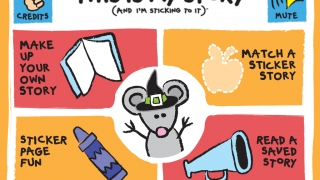 Four modes of play include Make a Story, Match a Story, Read a Saved Story, and Sticker Page Fun.