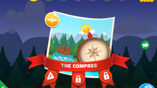 Kids start their adventure by using a compass to discover the cardinal directions.