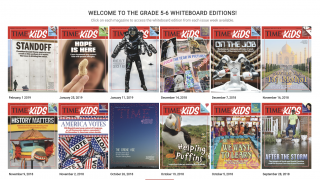 The whiteboard turns the print magazines into a visual experience.