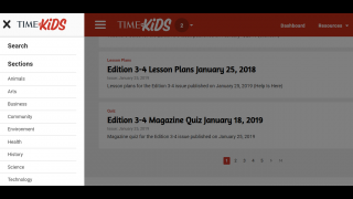 Teachers can search for articles by topic. Each edition comes with lesson plans, teacher's guides, and quizzes to check for learning.
