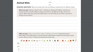 An example of a worksheet for the mammals simulation