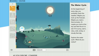 The water cycle model, like the other models, has labels that can be switched to other languages.