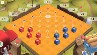 Gameplay has similarities to checkers.