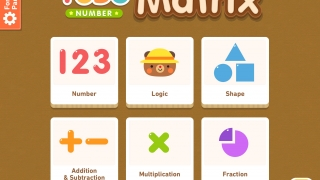 Kids choose to work on matrices from six different categories.