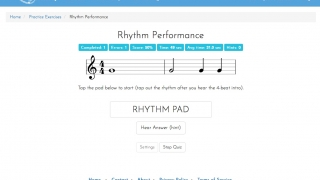 Exercises test rhythm patterns, interval identification, note naming, and more.