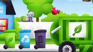 Put garbage in the right container: compost, recycle, or garbage; and then choose correct dump truck.