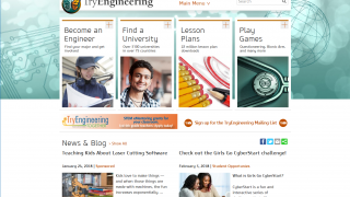 The site covers engineering careers, university programs, lesson plans, and games.
