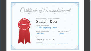 Students receive certificates for completing typing tests.
