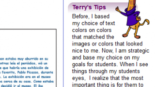 Terry's Tips supplement a teacher's UDL lesson for other educators.