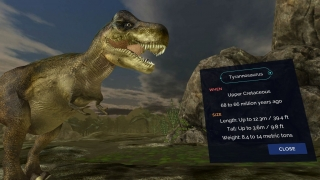 Unimersiv's dinosaur content is brief and interesting, but the only interaction is with quiz questions.